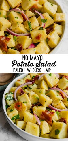 This easy potato salad made without mayo is perfect for picnics, cookouts, and potlucks. It's paleo, whole30, and AIP compliant.