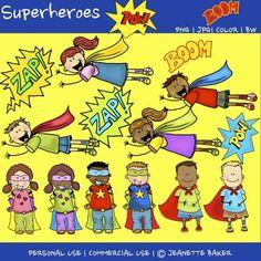 Superhero Kids Stick Figure Clipart!!