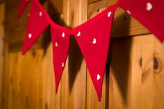 Bunting Red with hearts bunting Mother's day bunting by FabrikaUK