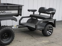 This small two passenger tram trailer is the ultimate people hauler! Designed for off-road duty behind golf carts, ATVs, and UTVs, these small tram trailers haul two passengers in comfort (the seats even include armrests and cup holders). But their small size also makes them easy to tow and convenient to store. They can be pulled one at a time, or you can link several together to create a multi-passenger party train.