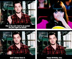 Blurry, but THE SWEETEST #newgirl moment.  loved this! New Girl - Jess & Nick #3.13 #Season3