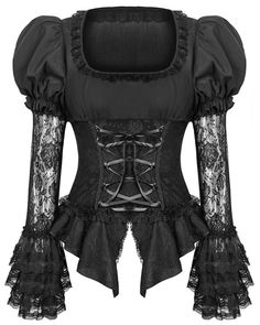 Punk Rave Pyon Womens Blouse Top Black Gothic Lolita Lace Steampunk Victorian in Clothing, Shoes & Accessories, Women's Clothing, Tops & Blouses Style Lolita, Gothic Lolita Fashion, Gothic Outfits, Gothic Glam, Goth Style, Fashion Goth, Steampunk Fashion, Morticia Addams, Steampunk Hut