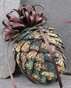 Fabric Pinecone Ornament Pinecones on by WinterberryOriginals Quilted Fabric Ornaments, Quilted Christmas Ornaments, Pinecone Ornaments, Beaded Ornaments, Handmade Ornaments, Handmade Christmas, Christmas Wreaths, Christmas Decorations, Rose Decor