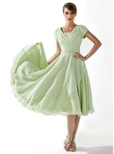 Tea-Length Chiffon Charmeuse Mother of the Bride Dress? I want a dancing skirt like this
