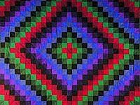 I love this quilt. It is Amish; they only use vegetable dyes. I was surprised the first time I saw one in person because the colors are so deep and vibrant. A quilt like this can easily sell for a thousand dollars--money well spent!