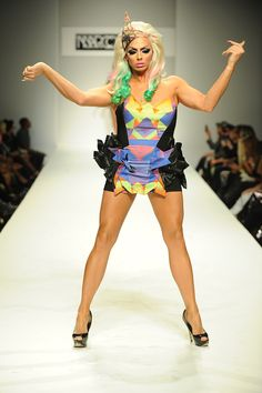 """And, again, finally, it's time for some Alyssa Edwards. Who knows what's going with her crumpled orgami skirt, but still.   18 Amazing """"Drag Race"""" Moments (And More Still) From Marco Marco's Latest Fashion Show"""