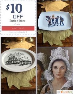 We are happy to announce $10.00 OFF our Entire Store. Coupon Code: 10PLATTER2015 Min Purchase: 40.00 Expiry: 30-Nov-2015 Click here to view all products:  Click here to avail coupon: https://orangetwig.com/shops/AABsu3Z/campaigns/AABsvDz?cb=2015011&sn=SuzanneOrmondPottery&ch=pin&crid=AABsvEE