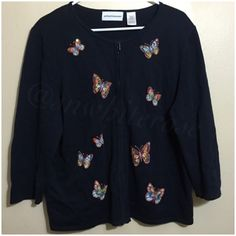 ⚡️Navy Butterfly Zipped Sweater ⚡️Navy Zippered Sweater adorn with embroidered butterflies with sequined and bead details. Very good condition. Selling for my aunt. Jackets & Coats