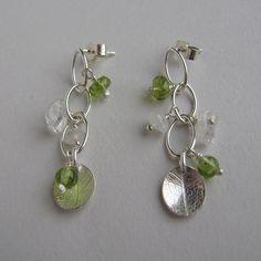 Silver mini waterfall green earrings by catherine woodall on Etsy, $44.00