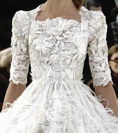 Chanel -White Dress with feathers-  This is it!