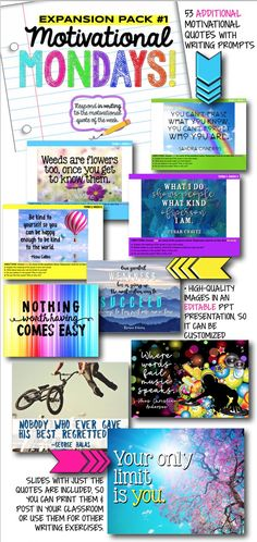 monday motivation classroom Motivational Monday bell ringer writing prompts and classroom decor - expansion pack Middle School Reading, Middle School English, Middle School Classroom, High School, Monday Motivation Quotes, Motivational Monday, Monday Quotes, Teaching Themes, Teaching Activities