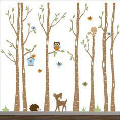 Nursery Wall Decals-Birch Trees Decal-Tree Wall Decal-Forest Wall Decals-Tree Wall Decal with Deer via Etsy