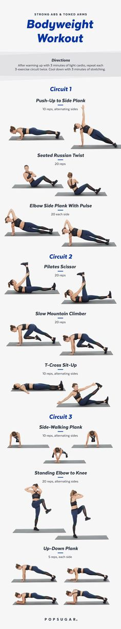 This bodyweight workout is all about your abs and arms. With no weights needed you can do it anywhere!