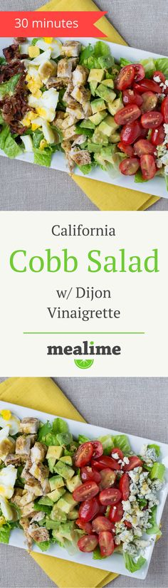 California Cobb Salad Recipe with Dijon Vinaigrette via @mealime - a quick and healthy recipe for one or two. Flexitarian, keto, low carb, paleo/primal, fish free, gluten free, peanut free, shellfish free, and tree nut free. #mealplanning