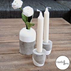 DIY, Beton, Basteln mit Beton, Rosalie&me, Deko, Kerzenständer aus Beton, Vase aus Beton