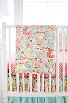 Pink and Aqua Paisley Crib Bedding for by ThreeWishesBeddingCo