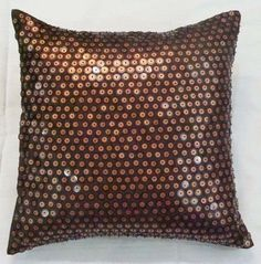 """Dotted Brown Pillows Cover, Satin 16""""X16"""" Throw Pillow Covers - Circle On Circle"""