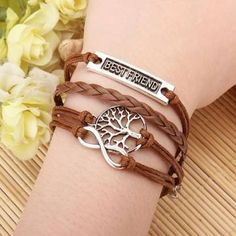 Multilayer Love Infinite Symbols Bracelet Leather Woven Bracelets - US$2.58