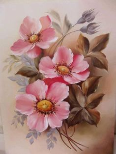 Pin by eileen hedges on eileen hedges art pinturas, dibujos de flores, pint China Painting, Tole Painting, Fabric Painting, Art Floral, Vintage Rosen, Vintage Art, Watercolor Flowers, Watercolor Paintings, One Stroke Painting