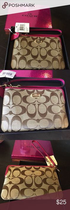 Coach Wristlet Brand New Coach Wristlet. Pink leather accent- tags still attached. Comes in pink Coach gift box. Coach Bags Clutches & Wristlets