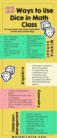 23 ways to use dice in math class!How can you bring some hands-on spontaneity in., EDUCATİON, 23 ways to use dice in math class!How can you bring some hands-on spontaneity into your math classroom? It's super easy! Invest in some dice and get. Math Teacher, Math Classroom, Teaching Math, Math Stations, Math Centers, Math Skills, Math Lessons, Math Tips, Fractions