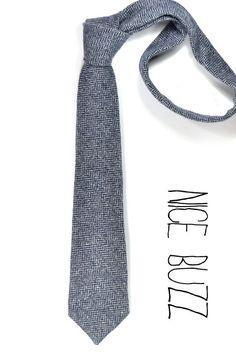 Wool Blue Herringbone neck tie Men ties preppy style by nicebuzz, 40.00