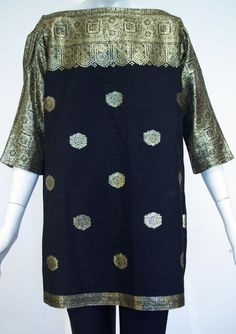 "Top, black silk shantung and gold lame, ""Charles Dumas, Switzerland"" belonged to founder's mother, 1961, founder's collection"