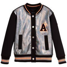 Armani Junior - Girls Black & Sliver Varsity Jacket   Childrensalon