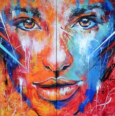 Fire and Ice  Abstract Portrait Painting by Noi Amar, via Behance. The contrast between the two colours give the face definition. The reds and dark blues show the shadows of the face whereas the light blue and white show where the face is a lot lighter.