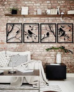 Tree Branches with Lovely Birds, 4 Pieces Metal Wall Art,Modern Rustic Wall Decor,Living Room Home Decor, Special Design New Home Gift Wall Decor Crafts, Rustic Wall Decor, Rustic Walls, Metal Wall Decor, Diy Wall, Rooms Home Decor, Living Room Decor, Diy Home Decor, Wall Art Designs