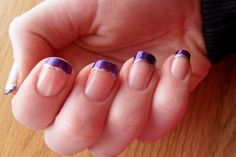 Ideas Wedding Nails French Purple Blue For 2019 Purple French Manicure, French Tip Nails, Purple Nails, French Manicures, Purple Glitter, Glitter Nails, Wedding Nails For Bride, Bride Nails, Purple Wedding