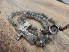 "Semi Precious Stone Grey, Silver, Iridescent Rosary ""Glowing Spirit"" Sideways Cross 24"" Necklace Bohemian, Rustic Glam Fleur di Lis"