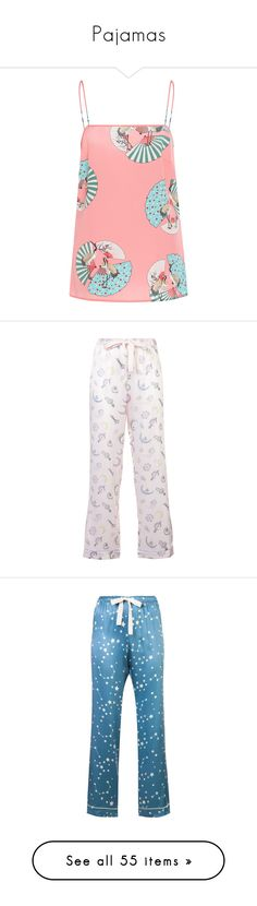"""""""Pajamas"""" by misslepurusha ❤ liked on Polyvore featuring tops, pink, pink cami top, camisole tops, pink top, red camisole top, red cami top, pants, white and white silk trousers"""