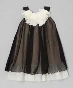 Take a look at this Black & White Floral Yoke Dress - Toddler & Girls by Kid's Dream on #zulily today!