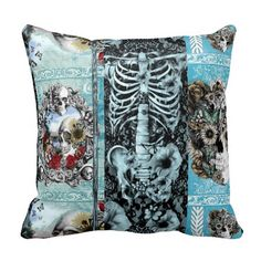Ornate skull collage pillow #skulls, #pillow, #lace, #gothic, #victorian, #floral, #poppies