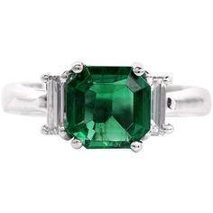 Certified 2.51carat Colombian Emerald Diamond Three Stone Platinum Ring