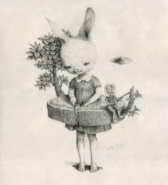 Amazing abstract sketches. Alice in Wonderland style. Waktu Membatu by Roby Dwi Antono, via Behance