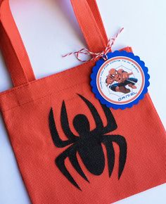 Set of 12 Spiderman Favor Bags with Personalized by SalomeCrafts