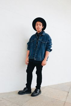 To create an outfit for lunch with friends at the weekend dress in a dark blue jean jacket and black jeans. Show your sartorial prowess with a pair of black leather derby shoes.   Shop this look on Lookastic: https://lookastic.com/men/looks/denim-jacket-long-sleeve-shirt-jeans-derby-shoes-hat/12799   — Navy Denim Jacket  — Navy Long Sleeve Shirt  — Black Wool Hat  — Black Jeans  — Black Leather Derby Shoes