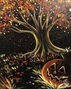 Check out Painting with a Twist's events in Selden, NY to uncover your next painting party! Read more to find out about upcoming painting events. Halloween Canvas Paintings, Fall Canvas Painting, Halloween Painting, Autumn Painting, Autumn Art, Halloween Art, Diy Painting, Painting & Drawing, Gouache Painting