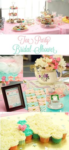 Tea Party Bridal Shower Ideas for an elegant and beautiful bridal shower tea party. Love the mint pink and gold color combination. Pretty and vintage!