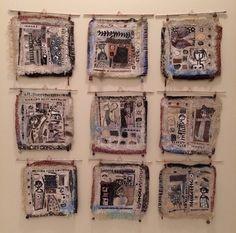 Nine piece handmade paper series. Mixed media.