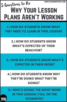 Your Lesson Plans May Not Be Working Top reasons lesson plans flop and 5 questions that can help you prevent them from happening.Top reasons lesson plans flop and 5 questions that can help you prevent them from happening. Instructional Coaching, Instructional Strategies, Teaching Strategies, Teaching Tips, Teaching Art, Instructional Planning, The Plan, How To Plan, First Year Teachers