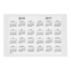 2016-2017 White Smoke Laminated Calendar by Janz Laminated Placemat