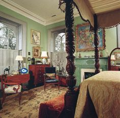 """""""Mercer House master bedroom""""- I like the mint color of the walls"""