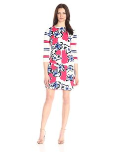 Donna Morgan Women's 3/4 Sleeve Floral and Striped Printed Jersey Shift -- Discover this special product, click the image : cocktail dresses