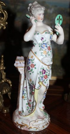Antique Large Porcelain Meissen Figurine Crossed Swords