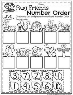 Preschool Number Order Worksheet for Spring - Preschool Bug Theme Subitizing Activities, Preschool Science Activities, Preschool Worksheets, Preschool Learning, Kindergarten Math, Teaching, Educational Activities, Preschool Bug Theme, Numbers Preschool