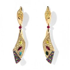 "Earrings by Mousson Atelier Earrings ""Magic Carpet"", in gold with tsavorite, ruby and sapphire by Mousson Atelier"