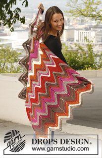"Crochet DROPS blanket with zigzag pattern in ""Karisma"". ~ DROPS Design"